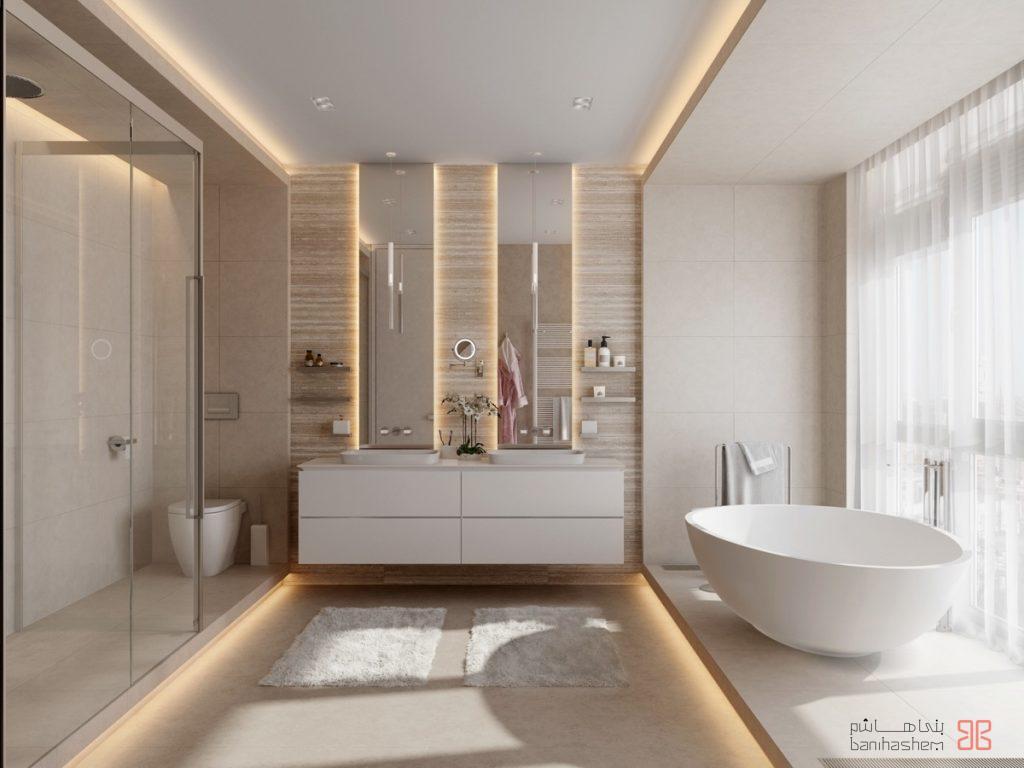 طراحی یک حمام با رنگهای ملایم و گرم